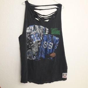 Nutmeg 1993 NFL Seahawks Destroyed Tank Top XL